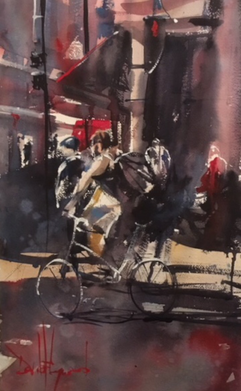 David Heywood 'Urban cyclist' Original Watercolour
