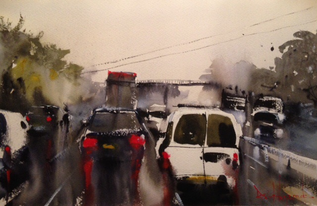 David Heywood M11 Rainy day Original Watercolour